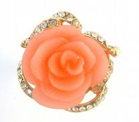 Large Fit Chunky Pink Rose And Rhinestone  Statement Ring.